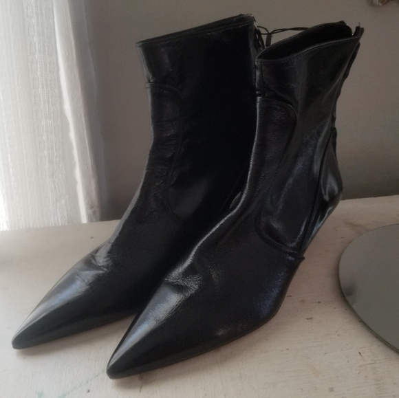 1326ff746d88 New Sz 38 7.5 Zara Black Leather Kitten Heel boots